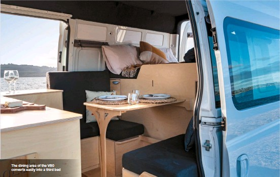 ??  ?? The dining area of the V80 converts easily into a third bed