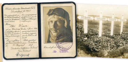 ??  ?? ■ Above: The pilot's license was separate from the award document authorising the wearing of the military pilot's badge. The license showed the holder could fly an aeroplane while the military pilot's badge was awarded as per the criteria set out in the photograph caption on page 115. Otto Weser was a pilot in Bombengeschwader 5. He and his crew of three other men were killed in August 1918 when they crashed during a storm. ■ Above right: Otto Weser's grave. He was buried along with his three comrades.