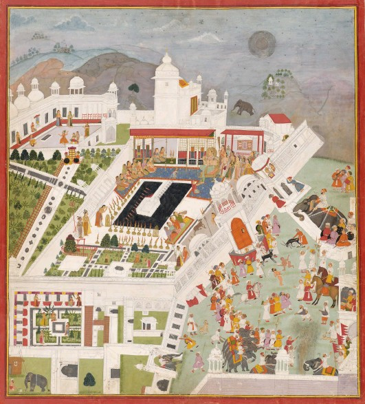 ??  ?? 1. The Mood of Kota Palace, c. 1700, unknown artist, Udaipur, opaque watercolou­r and gold on paper, 50.5 × 45.4cm. National Gallery of Victoria, Melbourne