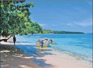 ?? VANI RANGACHAR, LOS ANGELES TIMES ?? The Nanuya Island Resort fronts a marine reserve that is home to brightly coloured fish and coral colonies.