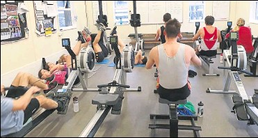 ??  ?? Training in the club gym at Maidstone Invicta Rowing Club and, left, Richard Huggins