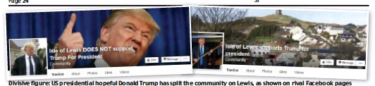 ??  ?? Divisive figure: US presidential hopeful Donald Trump has split the community on Lewis, as shown on rival Facebook pages