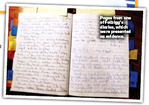 ??  ?? Pages from one of Folbigg's diaries, which were presented as evidence.