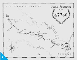 ??  ?? 2. COMRADES MARATHON 'A map to commemorate the awesome achievement of a 10-time finisher of this 56-mile race in South Africa. This added to my own motivation to run this incredible race.'