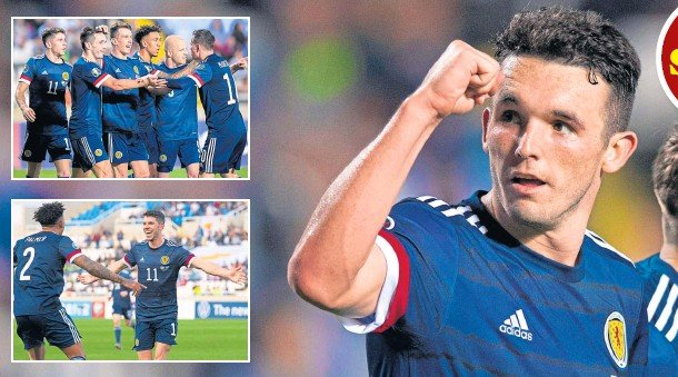 ??  ?? MIGHTY MCGINN: John McGinn at full-time against Cyprus after, insets top to bottom, celebrating the winning goal and Ryan Christie is all smiles after notching the opener