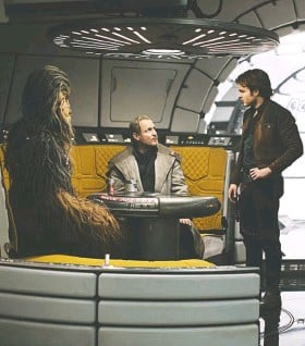 """?? JONATHAN OLLEY/LUCASFILM LTD. ?? Chewbacca, Beckett and Han Solo in """"Solo: A Star Wars Story,"""" which explores the infamous smuggler-pilot's past. It has more kissing than usual for a Star Wars movie but hardly any gore."""
