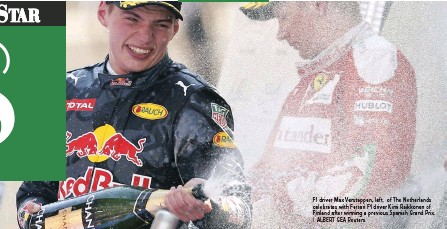 ??  ?? F1 driver Max Verstappen, left, of The Netherlands celebrates with Ferrari F1 driver Kimi Raikkonen of Finland after winning a previous Spanish Grand Prix. | ALBERT GEA Reuters MORGAN BOLTON morgan.bolton@inl.co.za