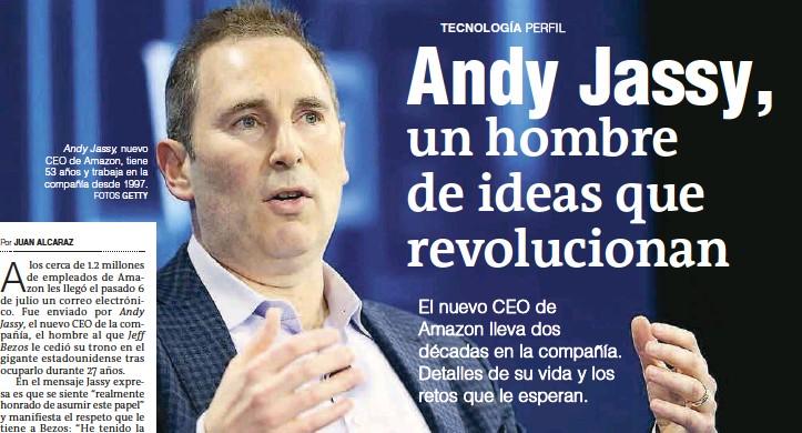 ?? FOTOS GETTY ?? Andy Jassy, nuevo CEO de Amazon, tiene 53 años y trabaja en la compañía desde 1997.