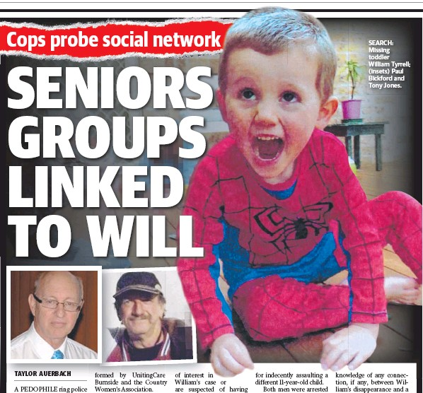 ??  ?? SEARCH: Missing toddler William Tyrrell; (insets) Paul Bickford and Tony Jones.
