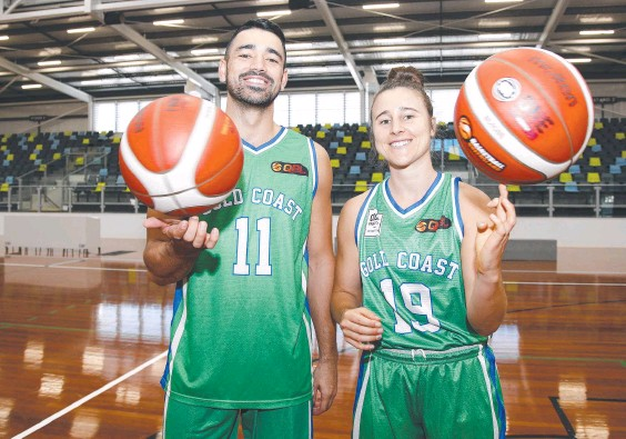 ??  ?? Gold Coast Rollers players Jaze Morris and Lauren Mansfield are ready for the NBL1 and QSL season launches this weekend. Picture: Tertius Pickard