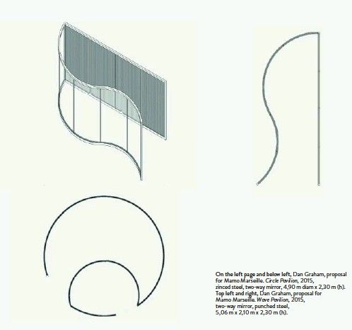 ??  ?? On the left page and below left, Dan Graham, proposal for Mamo Marseille. Circle Pavilion, 2015, zinced steel, two-way mirror, 4,90 m diam x 2,30 m (h). Top left and right, Dan Graham, proposal for Mamo Marseille. Wave Pavilion, 2015, two-way mirror,...