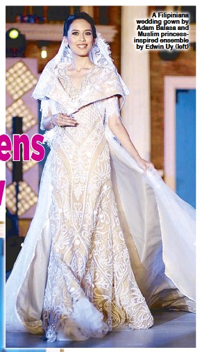 d490432238 A Filipiniana wedding gown by Adam Balasa and Muslim princessinspired  ensemble by Edwin Uy (left)