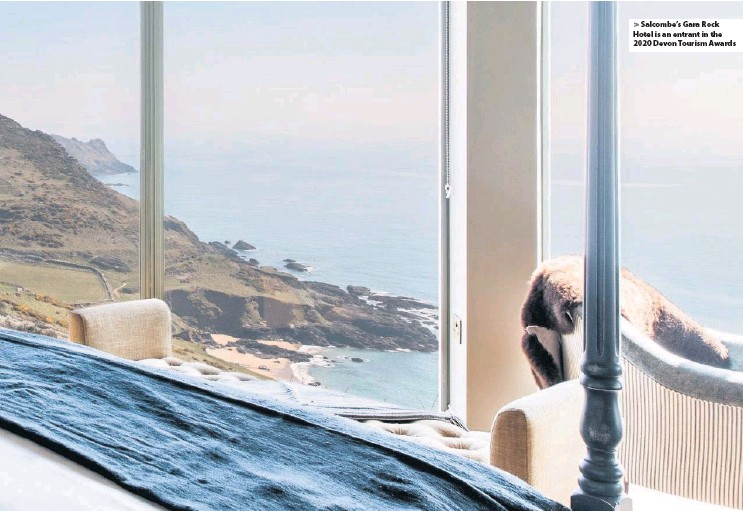 ??  ?? Salcombe's Gara Rock Hotel is an entrant in the 2020 Devon Tourism Awards