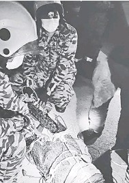 ??  ?? DITANCHANG: Raban bomba mantu nanchang jagu ti udah ditangkap tu.