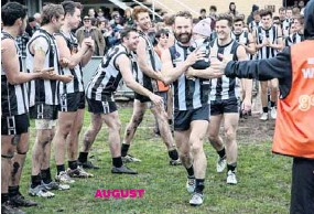 ??  ?? AUGUST MILESTONES: Craig Bamford took the field for his 350th senior game of football for the Euroa Magpies in early August, while captain Andrew Bell notched up his 100th game on the same day.