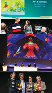 ??  ?? Talent Takes Center Stage: From top: Host Theo De Marcousin interviews prize winner Anca Damian (Marona's Fantastic Tale), 2019 presentation and prize winners, the transmedia hit Hilda is the subject of one of the 2020 keynotes.