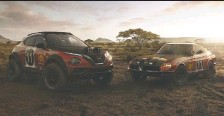 ?? NISSAN ?? Inspiration for the Juke rally car, left, comes from the 240Z that claimed victory in the 1971 East African Safari Rally, right.