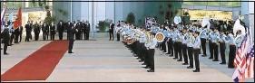 ?? ROBERT BURNS   Associated Press ?? A band plays Sunday during ceremonies welcoming U.S. Defense Secretary Lloyd Austin to the Ministry of Defense in Tel Aviv, Israel.