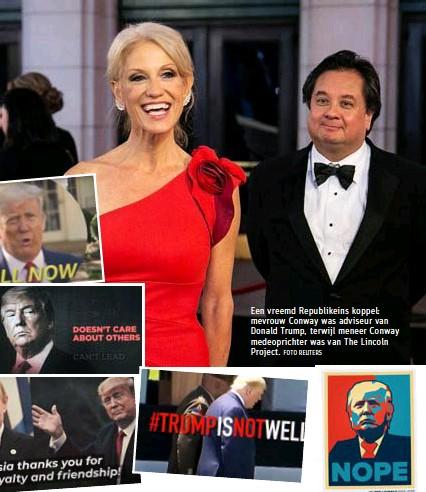 ?? FOTO REUTERS ?? Een vreemd Republikeins koppel: mevrouw Conway was adviseur van Donald Trump, terwijl meneer Conway medeoprichter was van The Lincoln Project.
