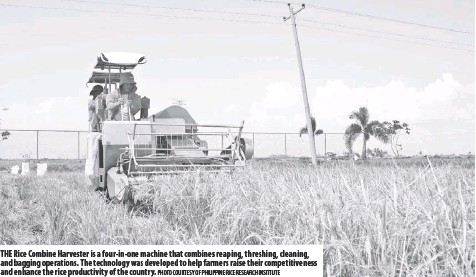 ?? Photo courtesy of Philipp ine Rice Research Institute ?? The Rice Combine Harvester is a four-in-one machine that combines reaping, threshing, cleaning, and bagging operations. The technology was developed to help farmers raise their competitiveness and enhance the rice productivity of the country.