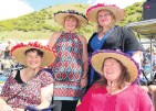??  ?? Got it covered . . . Wearing their fancy homemade hats are (from left) Marion Crawford, Denise Beynon, Allie Wilson and Sharon Geddis.