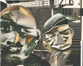"""?? COLLECTION OF HALLEY J. HARRISBURG AND MICHAEL ROSENFELD ?? TOP: Steel monuments at the National Memorial for Peace and Justice in Montgomery, Ala., honor lynching victims. ABOVE: Romare Bearden's """"Pittsburgh Memory"""" was part of the """"Soul of a Nation"""" show at the Crystal Bridges Museum in Arkansas."""