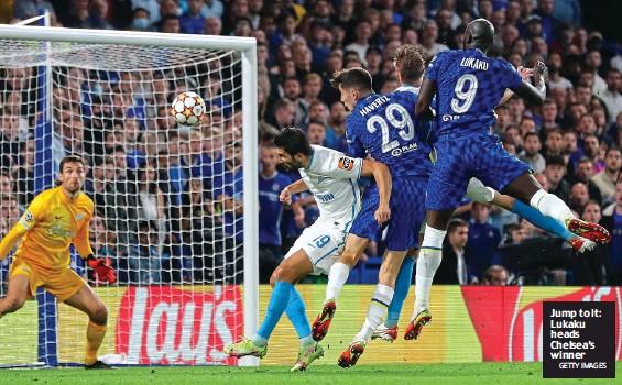 ?? GETTY IMAGES ?? Jump to it: Lukaku heads Chelsea's winner