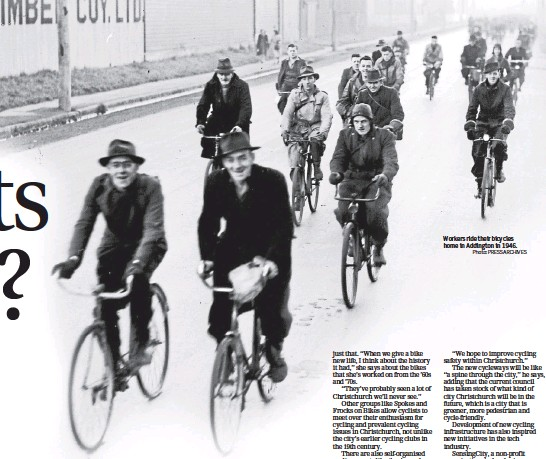 ?? Photo: PRESS ARCHIVES ?? Workers ride their bicycles home in Addington in 1946.