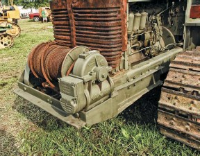 ??  ??  The front winch in the Lot 4 tractors was a 30,000 pound Gar Wood and it had three speeds, two pulling in and one going out. It carried approximately 300 feet of 3/4 inch wire rope. The winch was used for recovery and moving the large field guns.