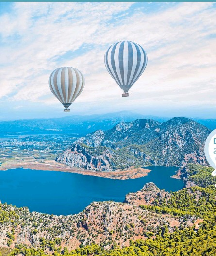 ??  ?? ● Clockwise from main: Hot air balloons soar over Iztuzu beach, Dalyan; bayside at Cook's Club, Marmaris; and a pool with a view at Bodrum Loft villas
