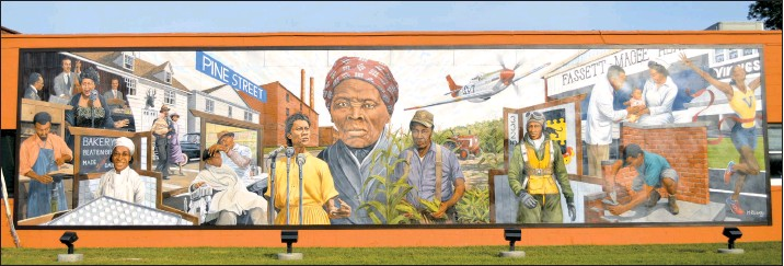 ??  ?? Dorchester County's newest mural, which celebrates Cambridge's African-American history, is at the corner of Maryland Ave. and U.S. Route 50 in Cambridge.