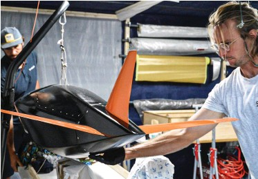 ?? PHOTO : COURTESY SYROCO ?? Alex Caizergues develops a remote-controlled prototype of the pod he and a co-pilot will man during the record attempt, which Caizergues expects to happen in 2022.