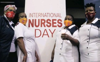 ??   Jacques Naude African News Agency (ANA) OATH ?? NURSES Ansina Mokoena, Virginia Sedio, Hilda Masango and Patricia Phakathi commemorate International Nurses Day at the CSIR International Convention Centre in Pretoria yesterday.
