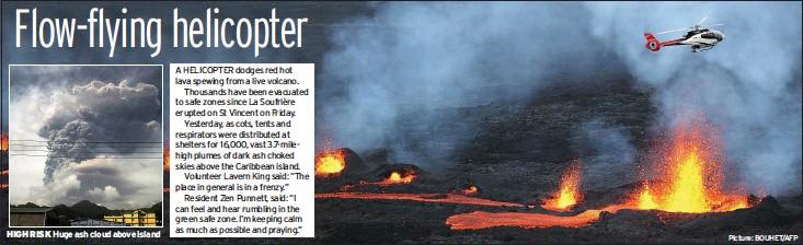 ?? Picture: BOUHET/AFP ?? HIGH RISK Huge ash cloud above island