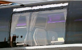 ?? PA ?? Smashed: the damaged window panel of Real Madrid's bus