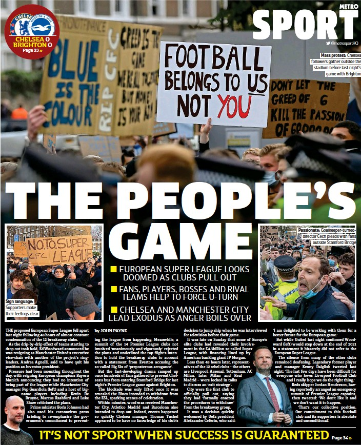 ??  ?? Sign language: Supporters make their feelings clear Mass protest: Chelsea followers gather outside the stadium before last night's game with Brighton Passionate: Goalkeeper-turneddirector Cech pleads with fans outside Stamford Bridge