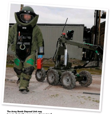 ??  ?? The Army Bomb Disposal Unit may have to deal with a new wave of terrorism if there's a return to a hard border