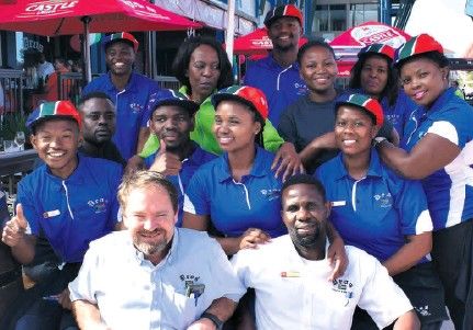 ??  ?? The Dros team wore their South African caps in support of the Springboks who played against the All Blacks on Saturday