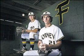 ?? Ashley Landis/Staff Photographer ?? Forney has one of the area's top one-two pitching combinations with Mason Englert (left) and Jonathan Childress.