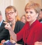 ??  ?? Nicola Sturgeon with Leslie Evans, left