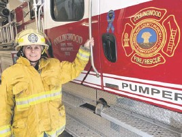 ?? DARRELL COLE • SALTWIRE NETWORK ?? Andrea Bishop is the first female fire chief among Cumberland County's 16 rural fire departments. Se was recently named the interim chief of the Collingwood Fire Department after the chief took a leave of absence.