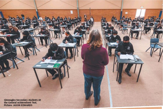 ??  ?? Gleneagles Secondary students sit the General Achievement Test. Picture: JASON EDWARDS