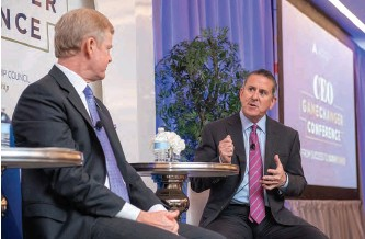 ??  ?? Target CEO brian Cornell (r.) makes a point to P&G CEO David s. taylor during the 2019 CEO GameChanger Conference.
