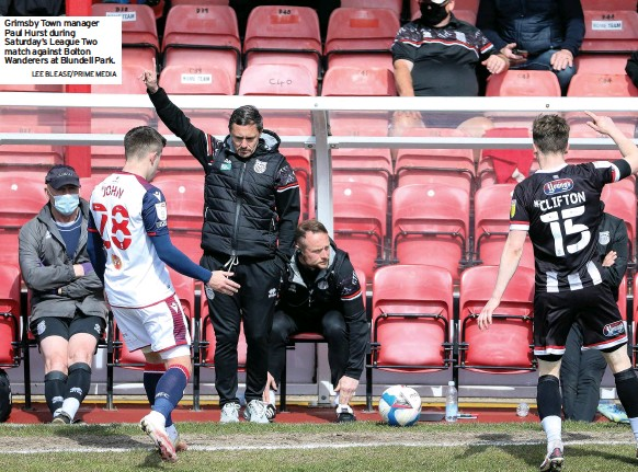 ?? LEE BLEASE/PRIME MEDIA ?? Grimsby Town manager Paul Hurst during Saturday's League Two match against Bolton Wanderers at Blundell Park.