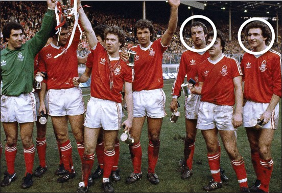 ??  ?? glory days: Nottingham Forest celebrate their 3-2 League Cup final win over Southampton in 1979 – the same season they claimed the club's first European Cup; Frank Clark (circled, third from right) started the European final win over Malmo after being...