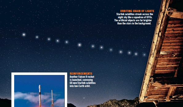 ??  ?? ORBITING CHAIN OF LIGHTS Starlink satellites streak across the night sky like a squadron of UFOS. The artificial objects are far brighter than the stars in the background.
