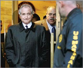?? Kathy Willens Associated Press ?? A TARGET OF BLAME Bernard Madoff, shown leaving a New York courthouse in 2009, bore the brunt of public anger toward Wall Street as the housing and stock markets plummeted.