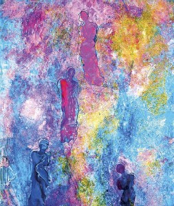 ??  ?? Il percorso espositivo A sinistra un'immagine di Karen Thomas al lavoro nel suo studio. Al centro, in alto, una delle tele in mostra: Il trionfo della Luce che ispira l'intero progetto. In alto il quadro Gioia di vivere . L'inaugurazione è prevista per...