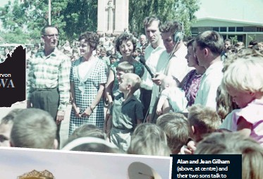 """??  ?? Alan and Jean Gilham (above, at centre) and their two sons talk to relatives in the UK during Australia's first live overseas broadcast from Carnarvon in 1966. The OTC Cassegrain """"sugar scoop"""" and adjacent 27m tall antenna (left)."""
