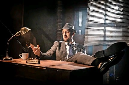 ?? Pic: Pamela Raith ?? Feargus Woods Dunlop as Stan Shakespeare - the only hard-boiled detective with a poet's moniker